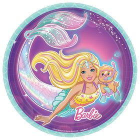 Barbie Mermaid Irridescent Dessert Plates (8)