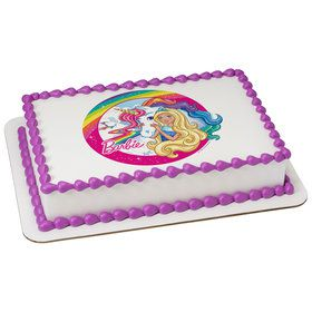 Barbie & Unicorn Quarter Sheet Edible Cake Topper (Each)