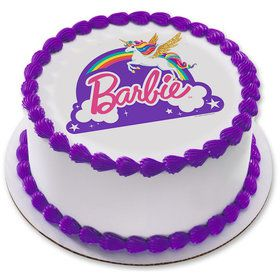 "Barbie Unicorn Rainbow 7.5"" Round Edible Cake Topper (Each)"