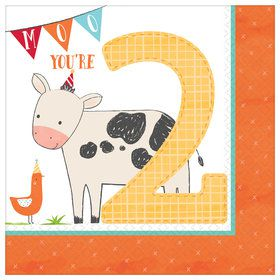 Barnyard 2nd Birthday Lunch Napkins (16)