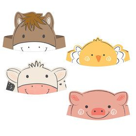 Barnyard Birthday Paper Character Crowns (8)