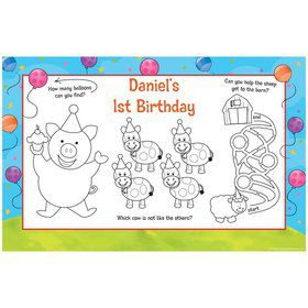 Barnyard Personalized Activity Mats (8-Pack)