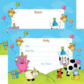 Barnyard Personalized Thank You Note (each)