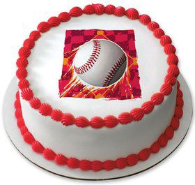 "Baseball 7.5"" Round Edible Cake Topper (Each)"