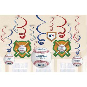 Baseball Foil Swirl Decorations (12 Count)