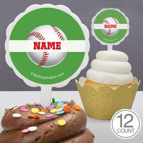 Baseball Party Personalized Cupcake Picks (12 Count)