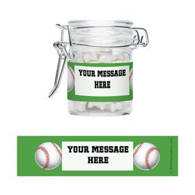 Baseball Party Personalized Glass Apothecary Jars (12 Count)