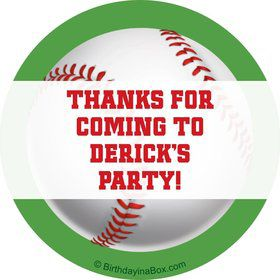 Baseball Party Personalized Sticker (sheet of 12)