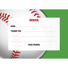 Baseball Party Personalized Thank You Note