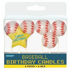 Baseball Party Pick Candles