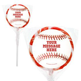 "Baseball Personalized 2"" Lollipops (20 Pack)"