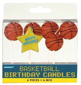 "Basketball 3"" Pick Candles (6 Pack)"