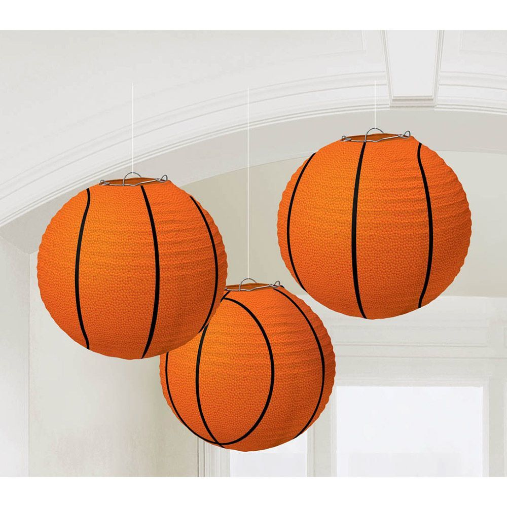 Basketball 9 1 2 paper lantern decorations for Basketball craft party ideas