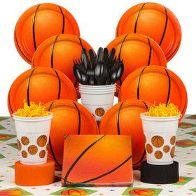 Basketball Birthday Party Deluxe Tableware Kit Serves 8