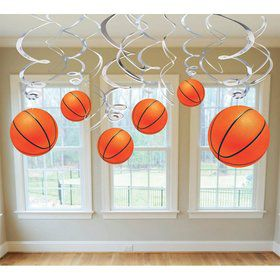 Basketball Hanging Swirl Decorations (Each)
