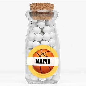 "Basketball Party Personalized 4"" Glass Milk Jars (Set of 12)"