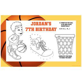 Basketball Party Personalized Activity Mat (8 pack)
