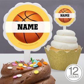 Basketball Party Personalized Cupcake Picks (12 Count)