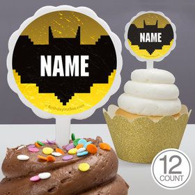 Bat Blocks Personalized Cupcake Picks 12 Count