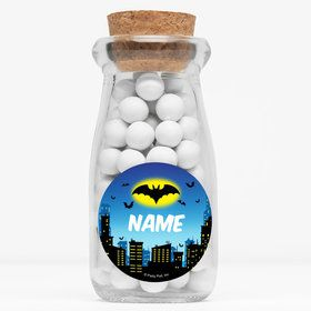 "Bat Personalized 4"" Glass Milk Jars (Set of 12)"