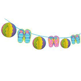 Beach Ball Honeycomb Trimmer 12' Garland Decoration (Each)