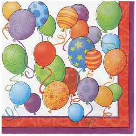 Birthday Balloons Beverage Napkins (12 Count)