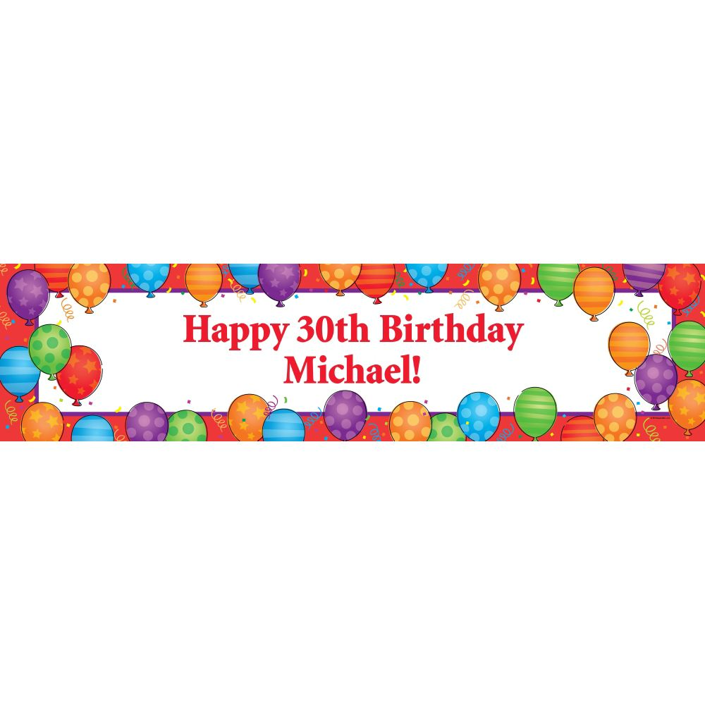 Birthday Balloons Personalized Banner (Each) BB700172BN
