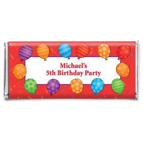 Birthday Balloons Personalized Candy Bar Wrapper (Each)