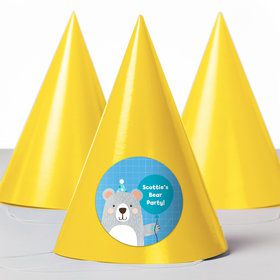 Birthday Bear Personalized Party Hats (8 Count)