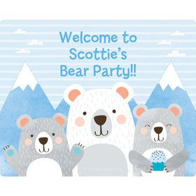 Birthday Bear Personalized Rectangular Stickers (Sheet of 15)