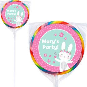 Birthday Bunny Personalized Lollipops (12 Pack)