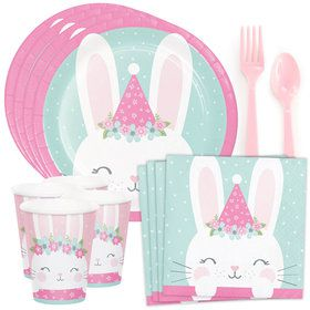 Birthday Bunny Standard Tableware Kit (Serves 8)