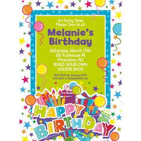 Birthday Burst Personalized Invitation (Each)
