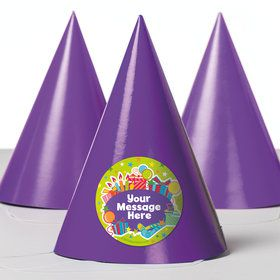 Birthday Burst Personalized Party Hats (8 Count)