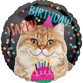 Birthday Cat Round Foil Balloon