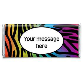 Rainbow Zebra Personalized Candy Bar W