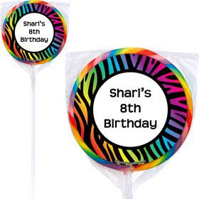 Rainbow Zebra Personalized Lollipops (Pack of 12)