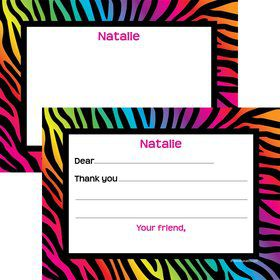 Rainbow Zebra Pers Thank You Note