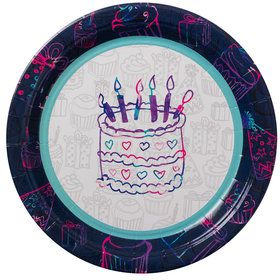 "Birthday Doodles 9"" Luncheon Plates (8 Count)"