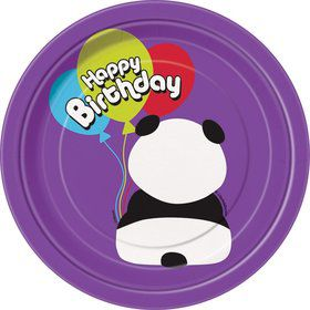"Birthday Panda 7"" Cake Plates (8 Pack)"