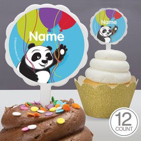 Birthday Panda Personalized Cupcake Picks (12 Count)
