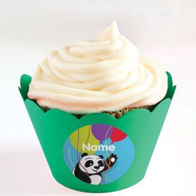 Birthday Panda Personalized Cupcake Wrappers (Set of 24)