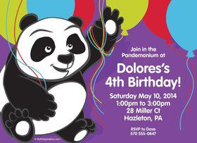 Birthday Panda Personalized Invitation (Each)