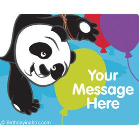 Birthday Panda Personalized Rectangular Stickers (Sheet of 15)