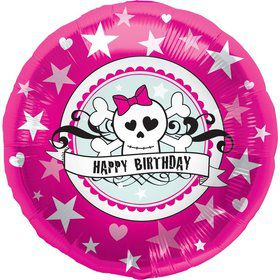 "Birthday Pirate Skully Pink 18"" Balloon (each)"