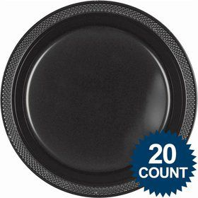 "Black 10"" Plastic Dinner Plates (20 Pack)"
