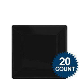"Black 7""? Square Paper Cake Plates (20 Pack)"