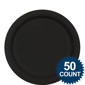 "Black 9"" Paper Luncheon Plates (50 Pack)"