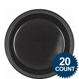 "Black 9"" Plastic Luncheon Plates (20 Pack)"