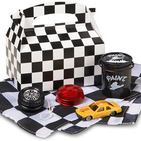 Black and White Check Birthday Favor Box (4-Pack)
